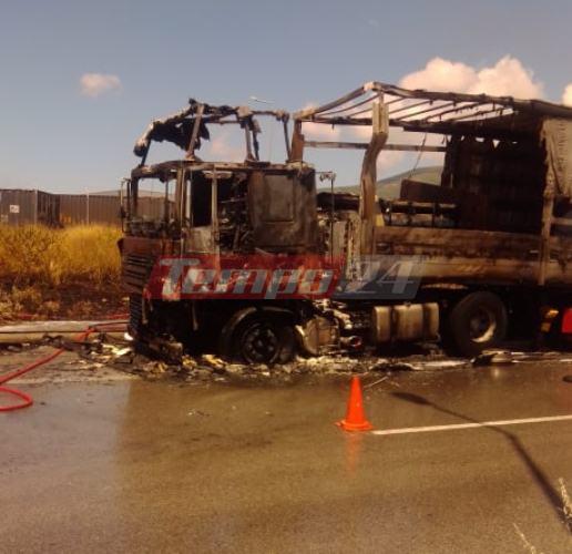 Φωτιά σε νταλίκα στην Πατρών - Κλάους: Οι πρώτες φωτογραφίες από το κατεστραμμένο όχημα - Δόθηκε στην κυκλοφορία ο δρόμος