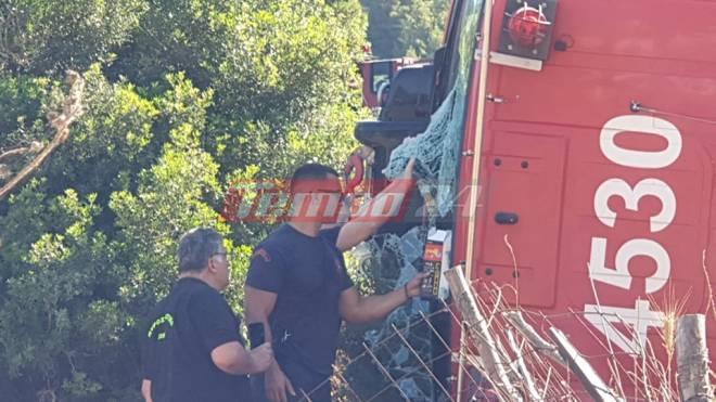 Δυτ. Αχαία: Ανετράπη πυροσβεστικό όχημα- Από θαύμα σώθηκαν πυροσβέστες - Δύο τραυματίες