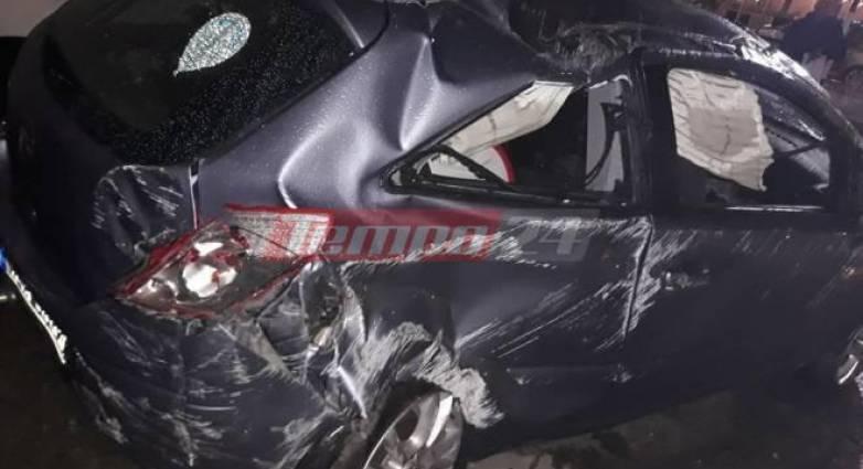 """Πατρών – Πύργου: ΙΧ """"στούκαρε"""" στον κόμβο της ΒΙΠΕ- Τραυματισμένος ο οδηγός (photos)"""